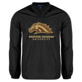 V Neck Black Raglan Windshirt-Western Michigan University w/ Bronco Head