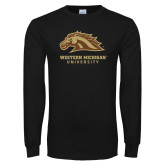 Black Long Sleeve TShirt-Western Michigan University w/ Bronco Head