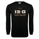 Black Long Sleeve TShirt-13-0 Undefeated Football Season 2016