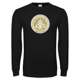 Black Long Sleeve T Shirt-WMU Seal Gold