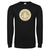 Black Long Sleeve T Shirt-WMU Seal Gold