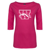 Ladies Dark Fuchsia Perfect Weight 3/4 Sleeve Tee-W w/ Bronco