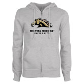 ENZA Ladies Grey Fleece Full Zip Hoodie-Western Michigan University w/ Bronco Head