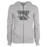 ENZA Ladies Grey Fleece Full Zip Hoodie-W w/ Bronco Graphite Glitter