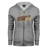 ENZA Ladies Grey Fleece Full Zip Hoodie-Undefeated Season Football 2016