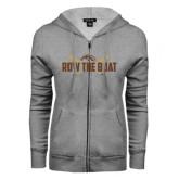 ENZA Ladies Grey Fleece Full Zip Hoodie-Row the Boat