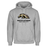 Grey Fleece Hoodie-Western Michigan University w/ Bronco Head