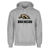Grey Fleece Hoodie-Broncos w/ Bronco Head