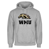 Grey Fleece Hoodie-WMU w/ Bronco Head