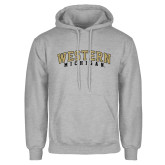 Grey Fleece Hoodie-Arched Western Michigan