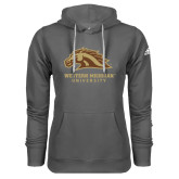 Adidas Climawarm Charcoal Team Issue Hoodie-Western Michigan University w/ Bronco Head