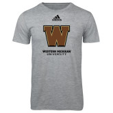Adidas Sport Grey Logo T Shirt-Western Michigan University w/ W