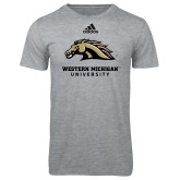 Adidas Sport Grey Logo T Shirt-Western Michigan University w/ Bronco Head