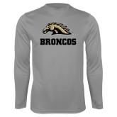 Performance Steel Longsleeve Shirt-Broncos w/ Bronco Head