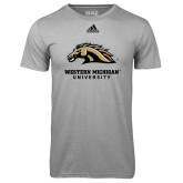 Adidas Climalite Sport Grey Ultimate Performance Tee-Western Michigan University w/ Bronco Head