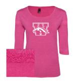 Ladies Dark Fuchsia Heather Tri Blend Lace 3/4 Sleeve Tee-W w/ Bronco