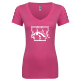 Next Level Ladies Junior Fit Deep V Pink Tee-W w/ Bronco