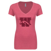 Next Level Ladies Vintage Pink Tri Blend V-Neck Tee-W w/ Bronco Hot Pink Glitter