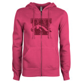 ENZA Ladies Fuchsia Fleece Full Zip Hoodie-W w/ Bronco Hot Pink Glitter