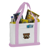 Contender White/Pink Canvas Tote-W w/ Bronco