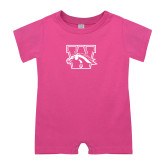 Bubble Gum Pink Infant Romper-W w/ Bronco