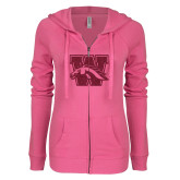 ENZA Ladies Hot Pink Light Weight Fleece Full Zip Hoodie-W w/ Bronco Hot Pink Glitter