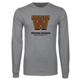 Grey Long Sleeve T Shirt-Western Michigan University w/ W