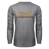 Grey Long Sleeve T Shirt-13-0 Undefeated Football Season 2016