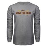 Grey Long Sleeve T Shirt-Row the Boat