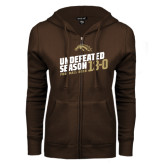 ENZA Ladies Brown Fleece Full Zip Hoodie-Undefeated Season Football 2016