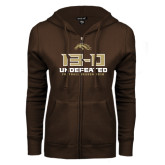 ENZA Ladies Brown Fleece Full Zip Hoodie-13-0 Undefeated Football Season 2016