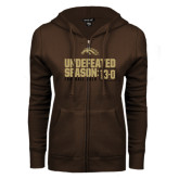 ENZA Ladies Brown Fleece Full Zip Hoodie-Undefeated Season 13-0 Football 2016