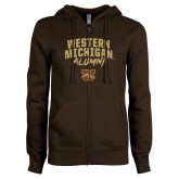 ENZA Ladies Brown Fleece Full Zip Hoodie-Arched Western Michigan Alumni