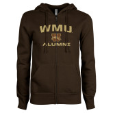 ENZA Ladies Brown Fleece Full Zip Hoodie-Arched WMU Alumni
