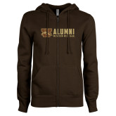 ENZA Ladies Brown Fleece Full Zip Hoodie-Western Michigan Alumni Stacked
