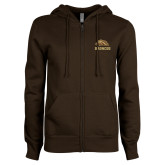 ENZA Ladies Brown Fleece Full Zip Hoodie-Broncos w/ Bronco Head