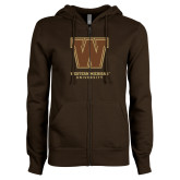 ENZA Ladies Brown Fleece Full Zip Hoodie-Western Michigan University w/ W