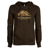 ENZA Ladies Brown Fleece Full Zip Hoodie-Western Michigan University w/ Bronco Head