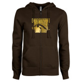 ENZA Ladies Brown Fleece Full Zip Hoodie-W w/ Bronco Foil