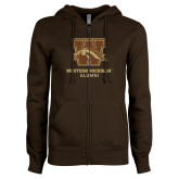ENZA Ladies Brown Fleece Full Zip Hoodie-Alumni
