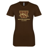 Next Level Ladies Softstyle Junior Fitted Dark Chocolate Tee-Alumni