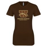 Next Level Ladies Softstyle Junior Fitted Dark Chocolate Tee-Basketball