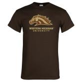 Brown T Shirt-Western Michigan University w/ Bronco Head