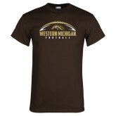 Brown T Shirt-Western Michigan Football Flat w/ Ball