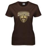 Ladies Brown T Shirt-2016 Marathon MAC Football Champions