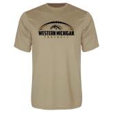 Performance Vegas Gold Tee-Western Michigan Football Flat w/ Ball