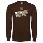 Brown Long Sleeve TShirt-Western Michigan Broncos Hockey