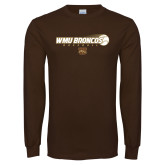 Brown Long Sleeve TShirt-WMU Broncos Baseball w/ Flying Ball