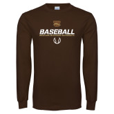 Brown Long Sleeve TShirt-Western Michigan University Baseball Flat