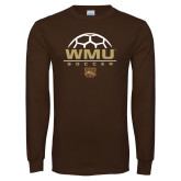 Brown Long Sleeve TShirt-WMU Soccer Half Ball